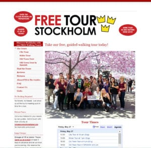 Screen dump of the old Free Tour Stockholm site.