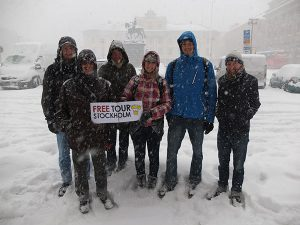 Tour group in deep snow