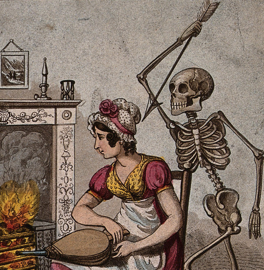 A vision of death stands behind a woman. Picture courtesy by the Wellcome Collection.